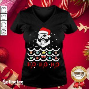 Top Santa Claus Diving Christmas Tree H2O H2O H2O V-neck - Design By Refinetee.com
