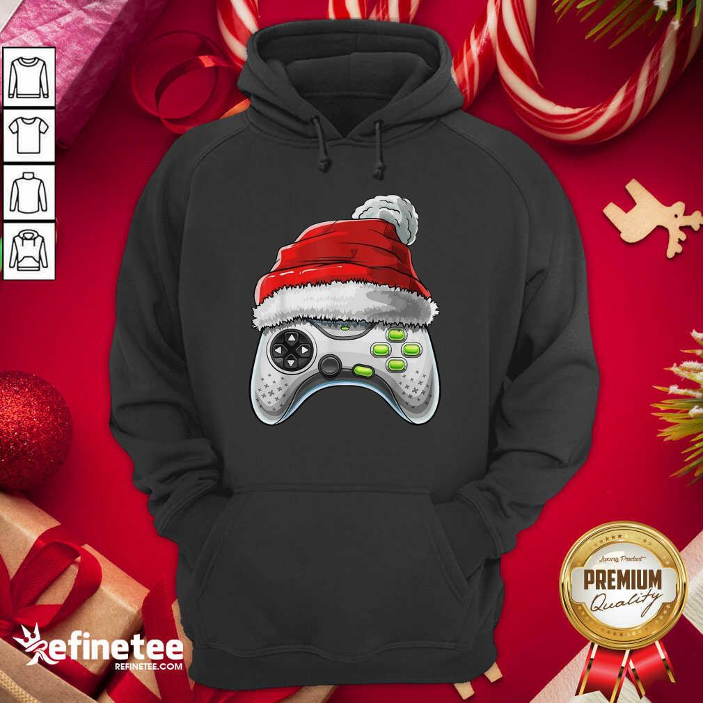 Video Game Controller Santa Hat Christmas Hoodie - Design By Refinetee.com