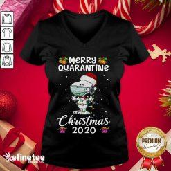 Excellent Snoopy Hat Santa Merry Quarantine Christmas 2020 V-neck - Design By Refinetee.com