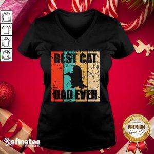 Fantastic Best Cat Dad Ever Vintage V-neck - Design By Refinetee.com