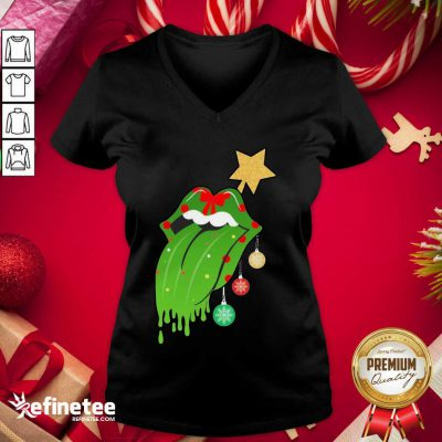 Funny The Rolling Stones Merry Christmas V-neck - Design By Refinetee.com