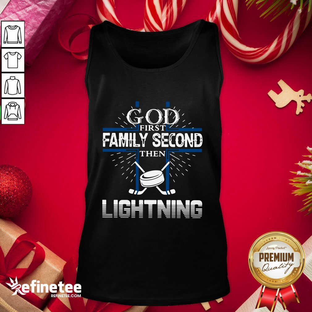 God First Family Second Then Lightning Tank Top - Design By Refinetee.com