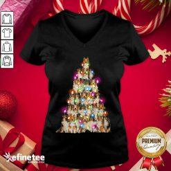 Good Sheltie dog Christmas Tree Sheltie Xmas Tree V-neck - Design By Refinetee.com