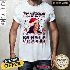 Great Kamala Harris Tis The Season To Be Jolly Kamala La La La Ugly Christmas Shirt - Design By Refinetee.com