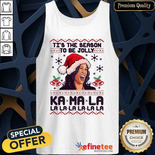 Great Kamala Harris Tis The Season To Be Jolly Kamala La La La Ugly Christmas Tank Top - Design By Refinetee.com
