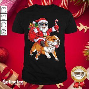 Great Santa Claus Riding Bulldog Merry Christmas Shirt - Design By Refinetee.com