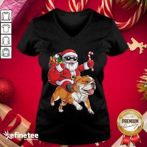 Great Santa Claus Riding Bulldog Merry Christmas V-neck - Design By Refinetee.com