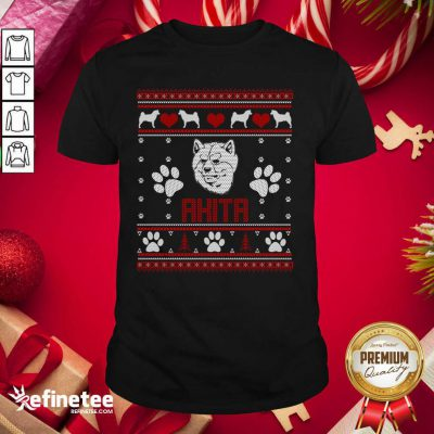 Happy Akita Ugly Christmas Shirt - Design By Refinetee.com
