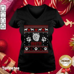 Happy Akita Ugly Christmas V-neck - Design By Refinetee.com