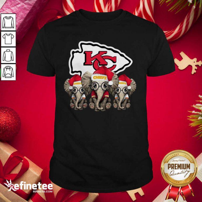 Happy Kansas City Chiefs Elephant Christmas Shirt - Design By Refinetee.com
