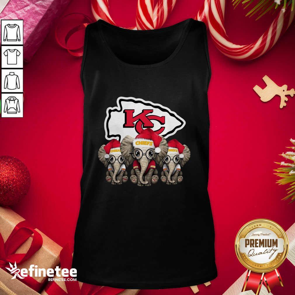 Kansas City Chiefs Elephant Christmas Tank Top - Design By Refinetee.com