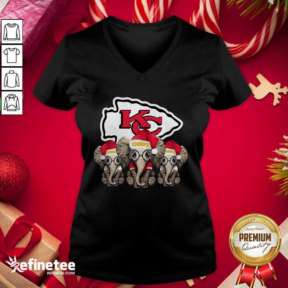 Kansas City Chiefs Elephant Christmas V-neck - Design By Refinetee.com