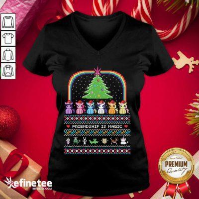 Hot Unicorn Friendship Is Magic Ugly Christmas V-neck - Design By Refinetee.com