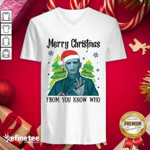 Hot Voldemort Santa Merry Christmas From You Know Who Christmas V-neck - Design By Refinetee.com
