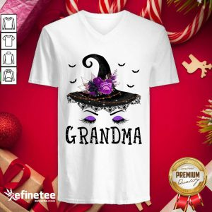 Lovely Grandma Witch Hat Halloween V-neck - Design By Refinetee.com