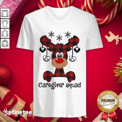 Reindeer Caregiver Squad Christmas V-neck - Design By Refinetee.com