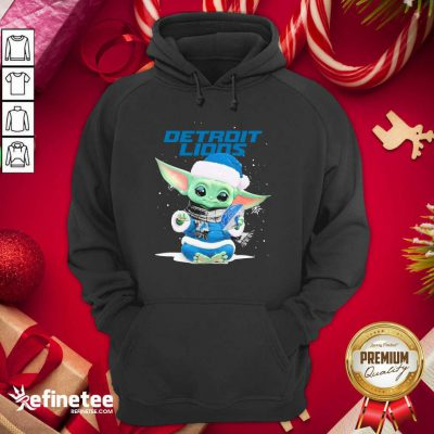 Nice Baby Yoda play Rugby Detroit Lions Merry Christmas Hoodie - Design By Refinetee.com