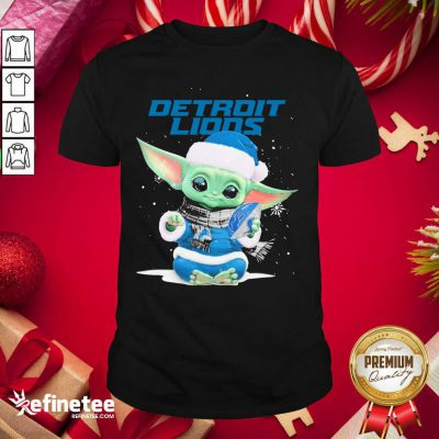 Nice Baby Yoda play Rugby Detroit Lions Merry Christmas Shirt - Design By Refinetee.com