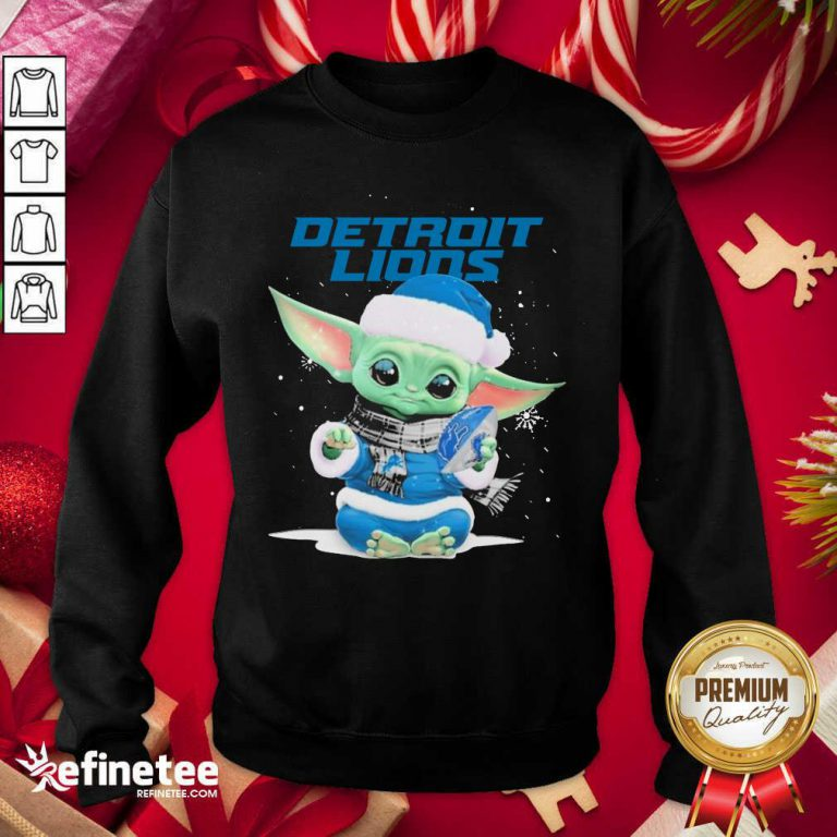 Nice Baby Yoda play Rugby Detroit Lions Merry Christmas Sweatshirt - Design By Refinetee.com