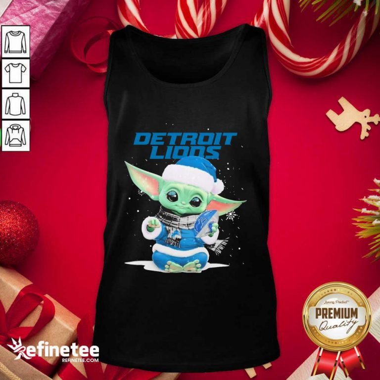 Nice Baby Yoda play Rugby Detroit Lions Merry Christmas Tank Top - Design By Refinetee.com