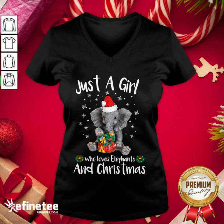 Nice Just A Girl Who Loves Elephants And Christmas V-neck - Design By Refinetee.com