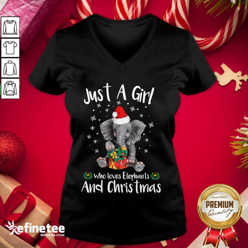 Just A Girl Who Loves Elephants And Christmas V-neck - Design By Refinetee.com