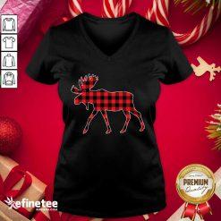 Nice Plaid Reindeer Merry Christmas V-neck - Design By Refinetee.com