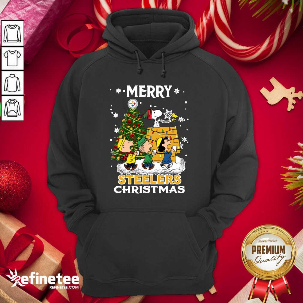 The Peanuts Snoopy And Friend Merry Steelers Ugly Christmas Hoodie - Design By Refinetee.com
