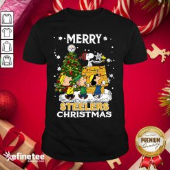 Nice The Peanuts Snoopy And Friend Merry Steelers Ugly Christmas Shirt - Design By Refinetee.com