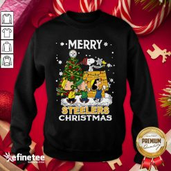 Nice The Peanuts Snoopy And Friend Merry Steelers Ugly Christmas Sweatshirt - Design By Refinetee.com
