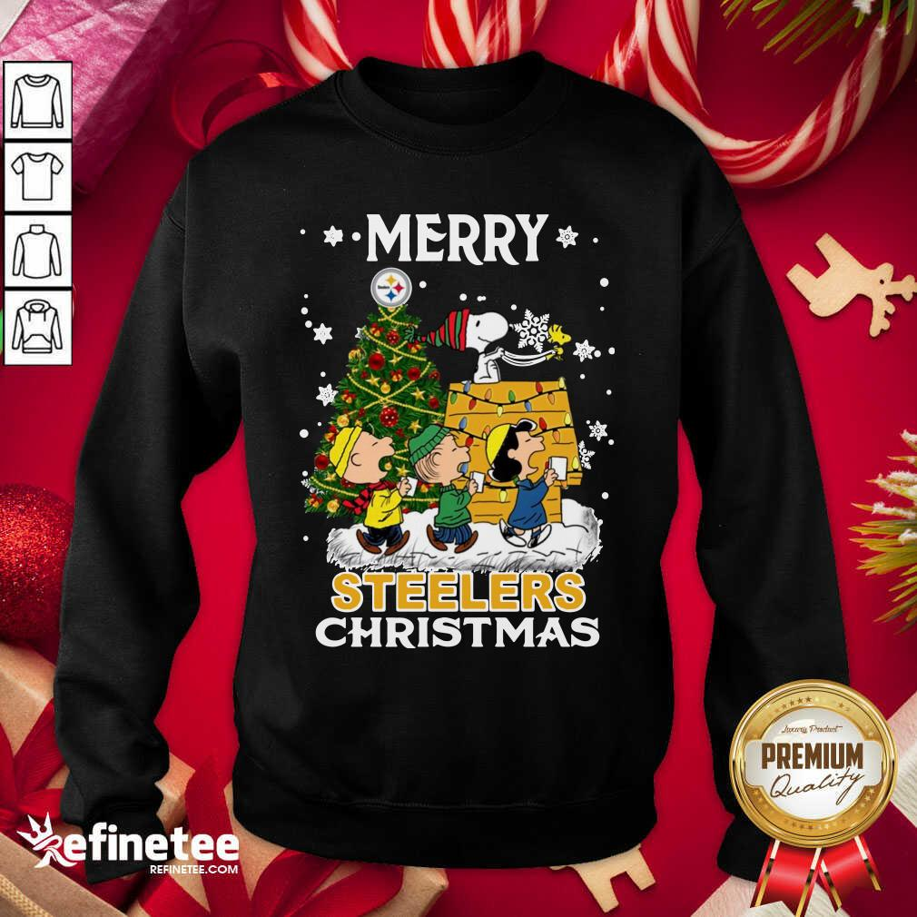 The Peanuts Snoopy And Friend Merry Steelers Ugly Christmas Sweatshirt - Design By Refinetee.com