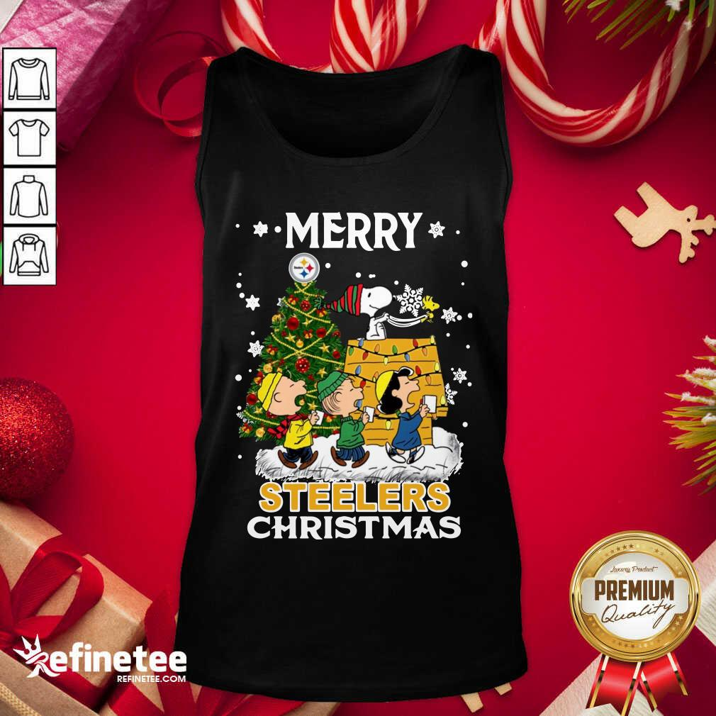 The Peanuts Snoopy And Friend Merry Steelers Ugly Christmas Tank Top - Design By Refinetee.com