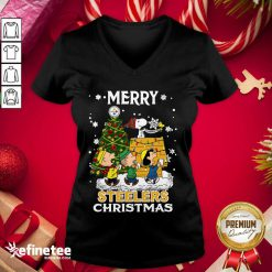 Nice The Peanuts Snoopy And Friend Merry Steelers Ugly Christmas V-neck - Design By Refinetee.com