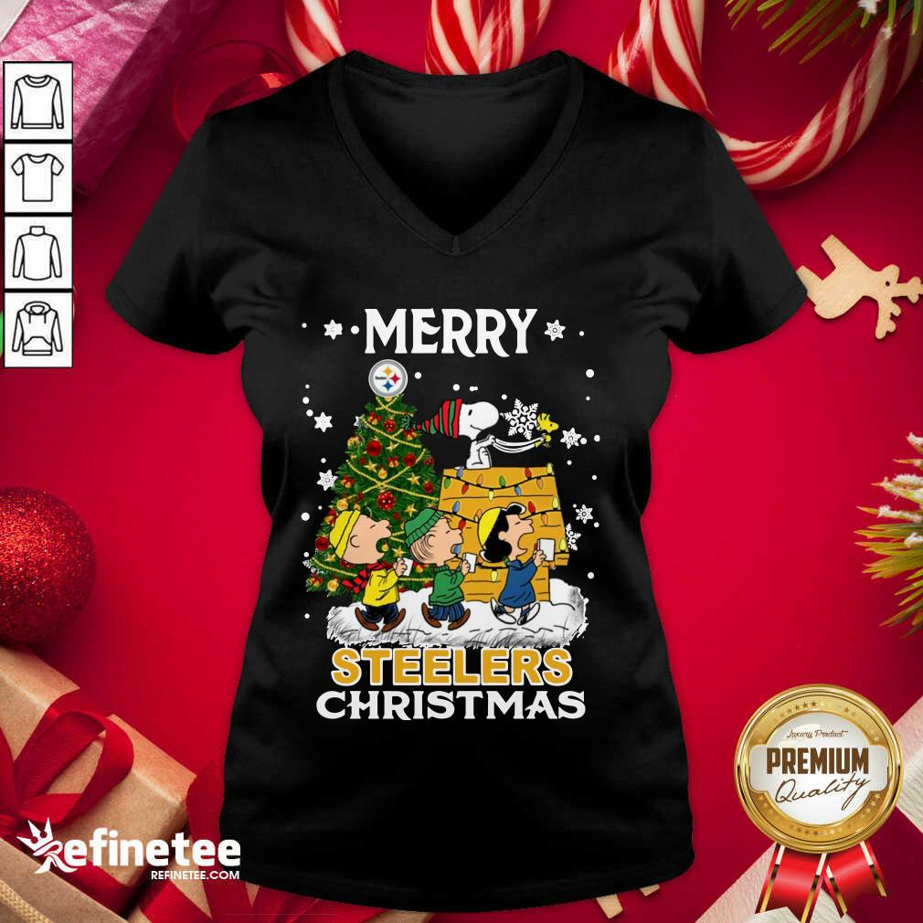 The Peanuts Snoopy And Friend Merry Steelers Ugly Christmas V-neck - Design By Refinetee.com