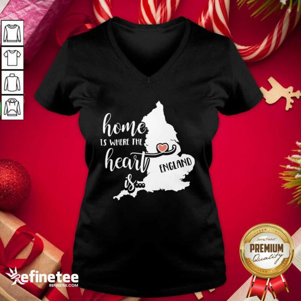 England Home is Where the Heart Is V-neck - Design By Refinetee.com
