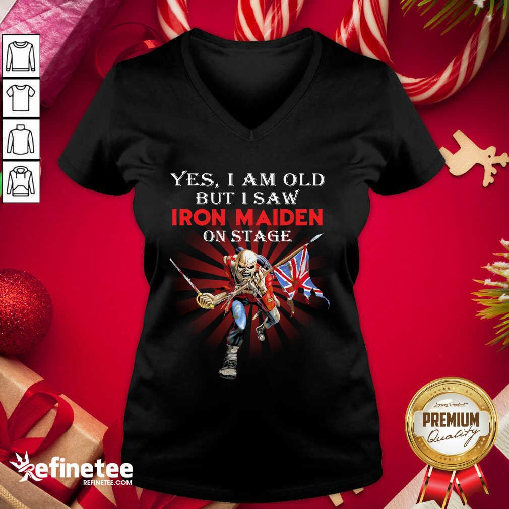Yes I Am Old But I Saw Iron Maiden On Stage Skeleton V-neck - Design By Refinetee.com