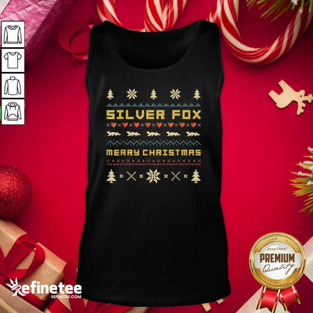 SILVER FOX Merry Christmas Ugly Christmas Tank Top - Design By Refinetee.com