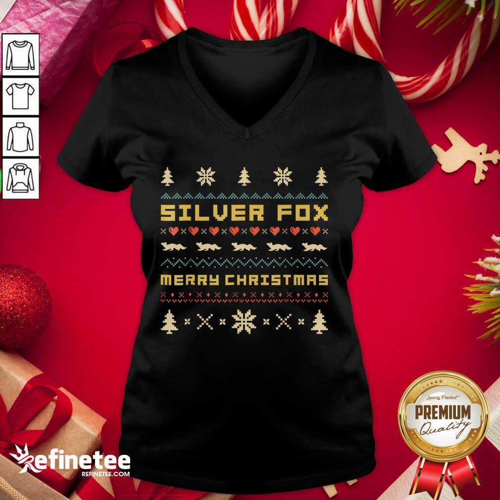 SILVER FOX Merry Christmas Ugly Christmas V-neck - Design By Refinetee.com