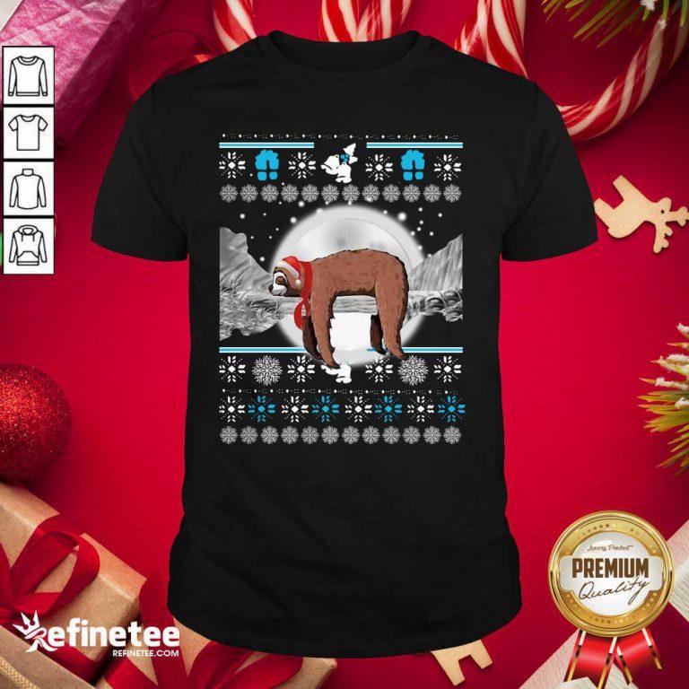 Perfect Sloth Hat Santa Sleep Ugly Christmas Shirt - Design By Refinetee.com