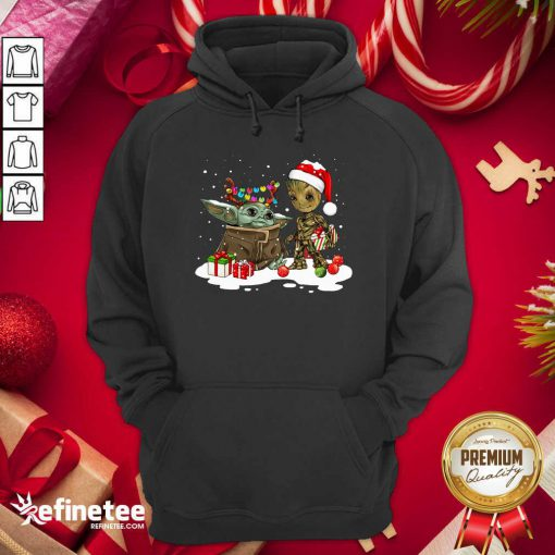 Top Baby Yoda And Baby Groot Happy Merry Christmas Hoodie - Design By Refinetee.com