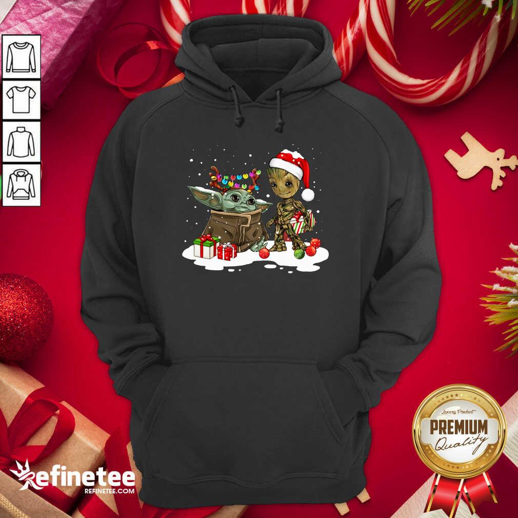 Baby Yoda And Baby Groot Happy Merry Christmas Hoodie - Design By Refinetee.com