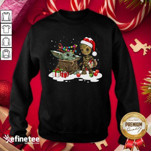 Top Baby Yoda And Baby Groot Happy Merry Christmas Sweatshirt - Design By Refinetee.com
