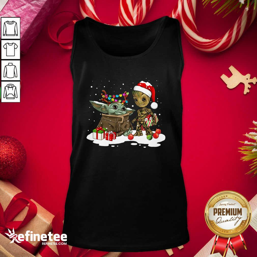 Baby Yoda And Baby Groot Happy Merry Christmas Tank Top - Design By Refinetee.com