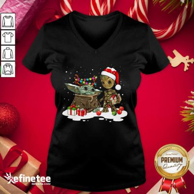 Top Baby Yoda And Baby Groot Happy Merry Christmas V-neck - Design By Refinetee.com