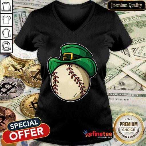 Top Shamrock Baseball Leprechaun St Patricks Day V-neck - Design By Refinetee.com