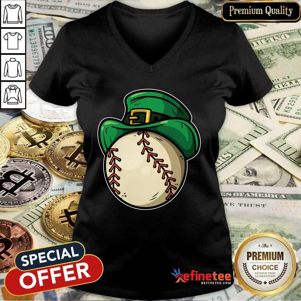 Shamrock Baseball Leprechaun St Patricks Day V-neck - Design By Refinetee.com