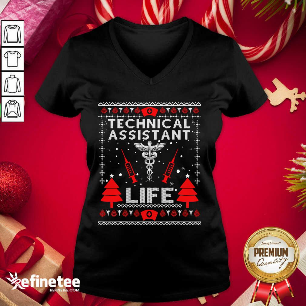 Teaching Assistant Life Cute Gift Ugly Christmas Medical V-neck - Design By Refinetee.com