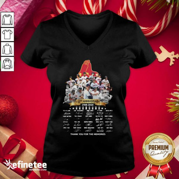 Top The Boston Red Sox 112nd Anniversary 1902 2020 Thank You For The Memories Signatures V-neck - Design By Refinetee.com