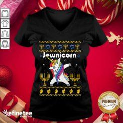 Wonderful Unicorn Jewnicorn Ugly Christmas V-neck - Design By Refinetee.com