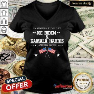 Perfect Joe Biden And Kamala Harris Inauguration Day 2021 Retro American Flag V-neck